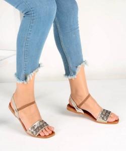 Altın Desenli Kemer Lastikli Bilek Bağlı Kadın Sandalet