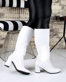 Austin Beyaz Cilt Topuklu Kadın Çizme