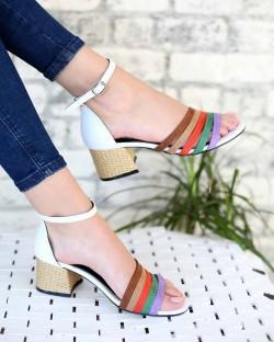 Farren Beyaz Cilt Renkli Bant Bilek Bağlı Topuklu Kadın Ayakkabı