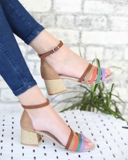 Farren Deve Tüyü Renkli Bant Bilek Bağlı Topuklu Kadın Ayakkabı