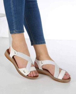 Ruffi Beyaz Cilt Çapraz Lastikli Kadın Sandalet