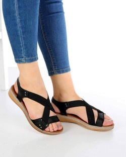 Ruffi Siyah Cilt Çapraz Lastikli Kadın Sandalet