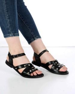 Mitta Siyah Cilt Troklu Çapraz Kemer Bilek Bağlı Kadın Sandalet