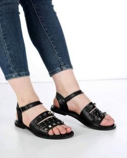 Mitta Siyah Cilt Troklu Kemer Bilek Bağlı Kadın Sandalet