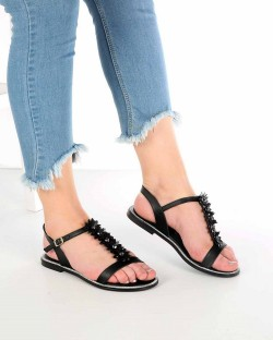 Lanze Siyah Cilt Çiçek Detaylı Kadın Sandalet