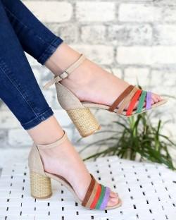 Lella Hasır Renkli Bilek Bağlı Kadın Ayakkabı