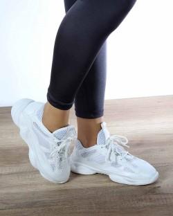 Zoey Beyaz Yüksek Taban Bağcıklı Kadın Spor Ayakkabı