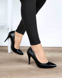 Siyah Cilt İnce Topuk Klasik Kadın Stiletto