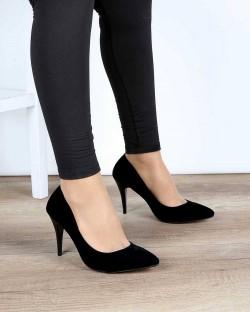 Siyah Süet İnce Topuk Klasik Kadın Stiletto