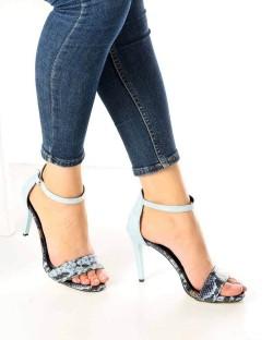 Tierra Mavi Yılan Desen İnce Topuk Kadın Ayakkabı