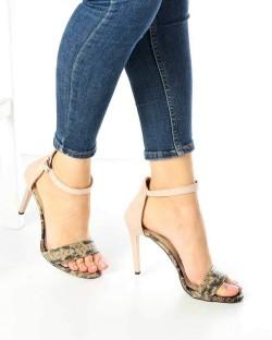 Tierra Bej Yılan Desen İnce Topuk Kadın Ayakkabı