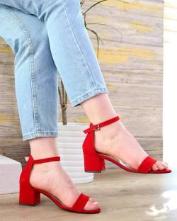 Serena Kırmızı Süet Bilek Bağlı Topuklu Kadın Ayakkabı