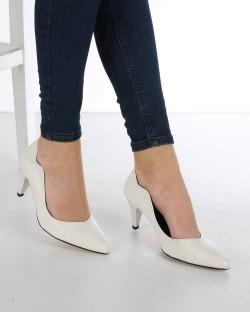 Moreno Beyaz Cilt Kısa Topuk Kadın Stiletto