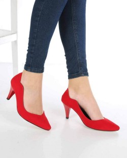 Moreno Kırmızı Süet Kısa Topuk Kadın Stiletto