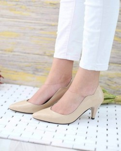 Moreno Ten Rugan Kısa Topuk Kadın Stiletto