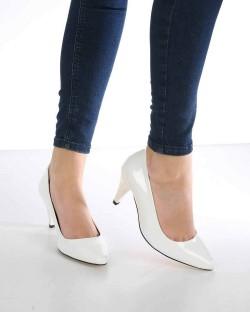 Filipa Beyaz Rugan Topuklu Kadın Ayakkabı
