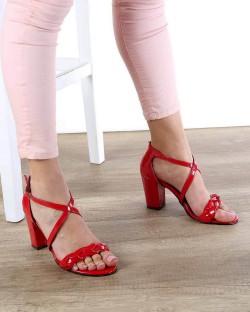 Sandro Kırmızı Rugan Örgü Kemer Topuklu Kadın Ayakkabı