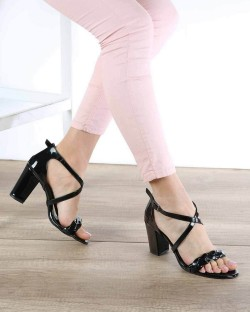 Sandro Siyah Rugan Örgü Kemer Topuklu Kadın Ayakkabı