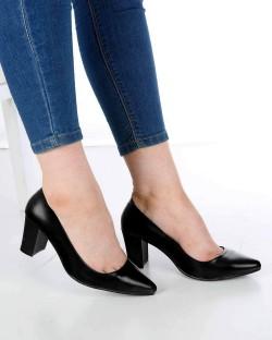 Venanzi Siyah Cilt Kalın Topuk Kadın Ayakkabı