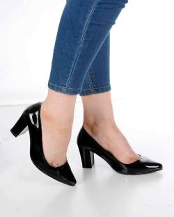 Venanzi Siyah Rugan Kalın Topuk Kadın Ayakkabı