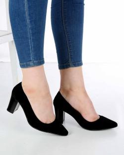 Venanzi Siyah Süet Kalın Topuk Kadın Ayakkabı