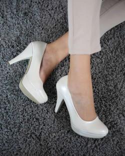 Evaline Sedef Cilt Çift Taban Topuklu Kadın Ayakkabı