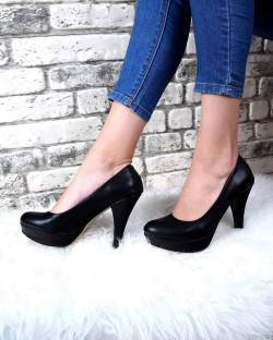 Evaline Siyah Cilt Çift Taban Topuklu Kadın Ayakkabı
