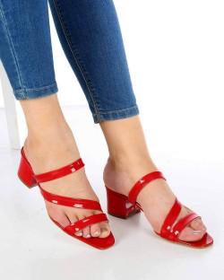 Letizia Kırmızı Rugan Çapraz Kemer Topuklu Kadın Terlik