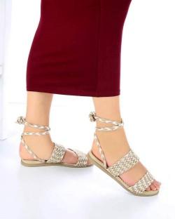 Benny Beyaz Bej Kilim Desen Kadın Sandalet