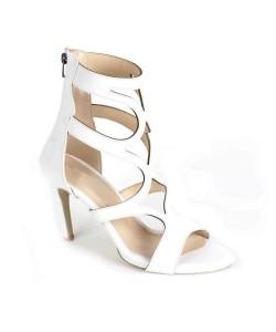 Beyaz Cilt Desenli Kesim Sırt Fermuarlı Kadın Ayakkabı