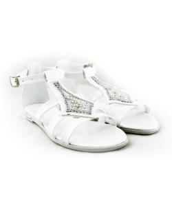Beyaz Cilt Taşlı Bayan Sandalet