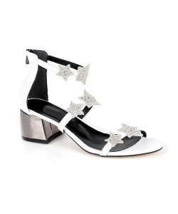 Beyaz Cilt Taşlı Yıldız İşlemeli Kalın Topuk Fermuarlı Kadın Ayakkabı