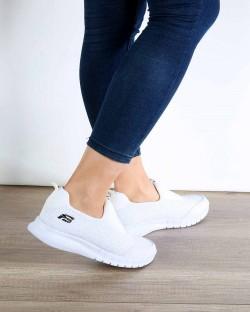 Beyaz Likralı Poli Taban Kadın Spor Ayakkabı