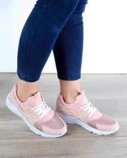 Beyaz Pudra Bağcıklı Poli Taban Kadın Spor Ayakkabı