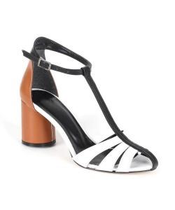 Beyaz Taba Siyah Köprü Bant Bilek Bağlı Topuklu Kadın Ayakkabı