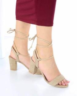 Blanca Hasır Sarma Bağcıklı Topuklu Kadın Ayakkabı