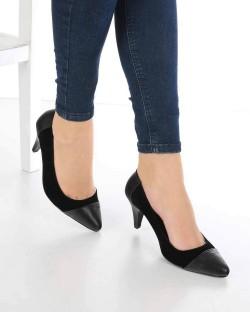 Bonita Siyah Süet Cilt Burun Topuklu Kadın Ayakkabı