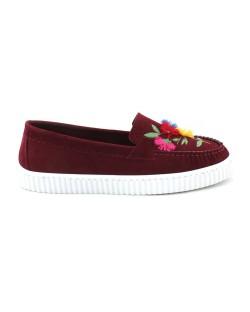 Bordo Renk Çiçek Motifli Günlük Bayan Ayakkabı