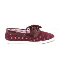 Bordo Renk Zımba Detaylı Bayan Günlük Ayakkabı