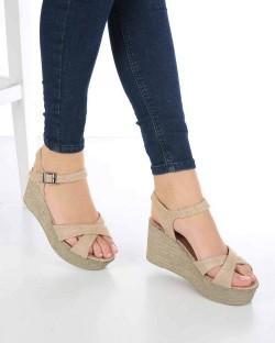 Caterina Hasır Bilek Bağlı Dolgu Topuk Kadın Sandalet