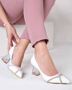 Elberta Taşlı Şeffaf Topuk Kadın Ayakkabı