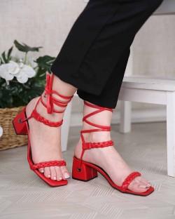 Everly Sarma Bağcık Örgü Kemer Topuklu Kadın Ayakkabı