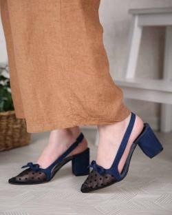 Flora Puanlı Tül Burun Topuklu Kadın Ayakkabı