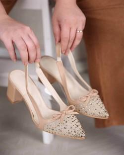 Nadia Taş İşlemeli Tül Burun Topuklu Kadın Ayakkabı