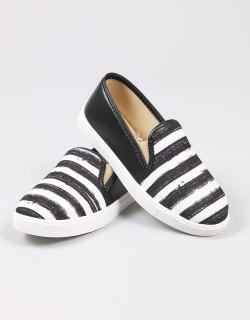 Mosimoso Siyah Kumaş Çizgili Sneaker Kadın Ayakkabı