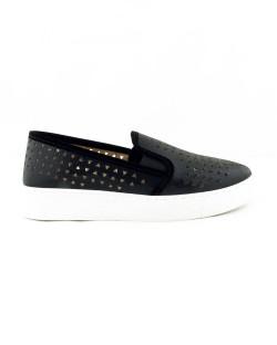 Mosimoso Siyah Lazer Kesim Bayan Günlük Ayakkabı