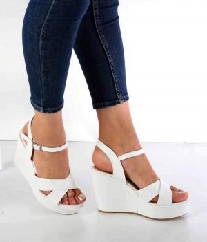 Allecra Beyaz Cilt Topuklu Kadın Sandalet