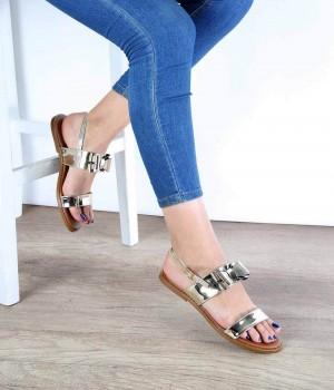 Altın Ayna Jurdan Taban Fiyonk Detaylı Kadın Sandalet