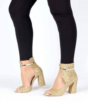 Altın Cam Kırığı Kapalı Sırt Bilek Bağlı Topuklu Kadın Ayakkabı
