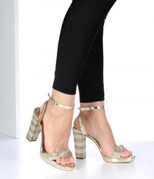 Altın Örgü Kemer Bilek Bağlı Topuklu Kadın Ayakkabı